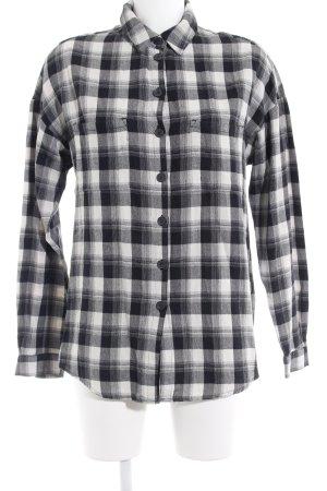 Set Langarmhemd schwarz-wollweiß Karomuster Casual-Look