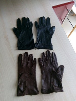Rękawiczki skórzane czarny-cognac Skóra