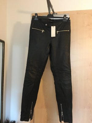 Oui Set Leather Trousers black leather