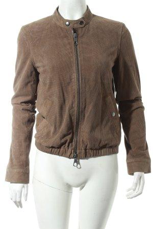 Set Lederjacke beige Street-Fashion-Look