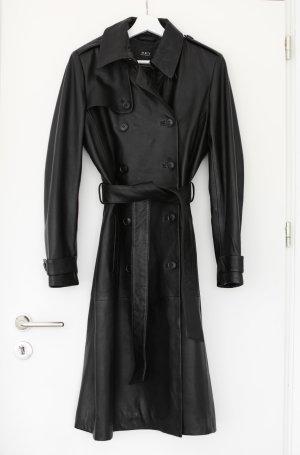 Set Ledermantel Coat Trench schwarz Vintage 70s Look Gr. 38 M Neu