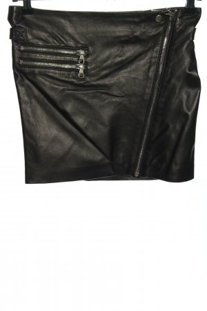 Set Leather Skirt black-silver-colored casual look