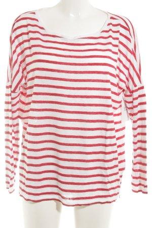 Set Longsleeve weiß-rot Streifenmuster Casual-Look