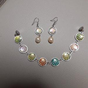 Set Meerjungfrau (Ohrringe mit echte Perlen  aus Italien+ Armband 19 cm)