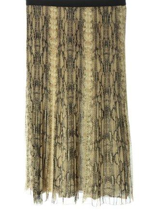 Set Spódnica midi kremowy-czarny Zwierzęcy wzór W stylu casual
