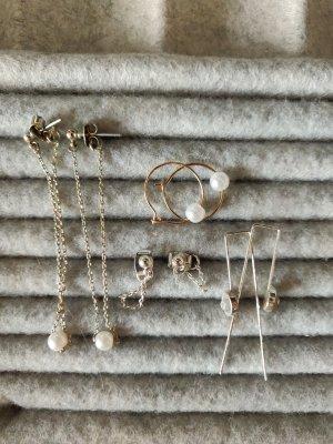 Set Ohrhänger Ohrstecker silber gold Perlenohrring minimalistisch