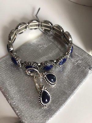 Set Ohrringe Armband Silber Blau Royalblau