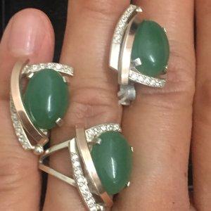 Set Ohrringe Ring 925er Silber mit Nephrit NEU