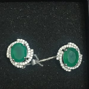 Unbekannter designer Silver Earrings silver-colored-forest green