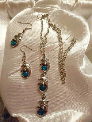 Set Ohrringe und Halskette mit Delfinen- EDEL-Metall -Handmade