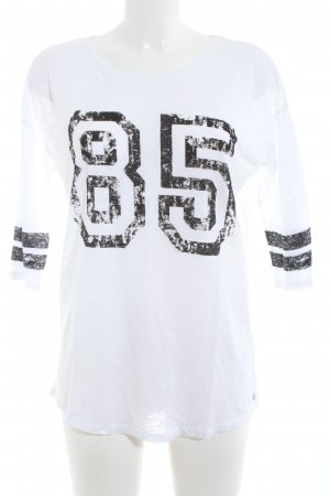 Set Oversized Shirt weiß-schwarz Schriftzug gedruckt Casual-Look
