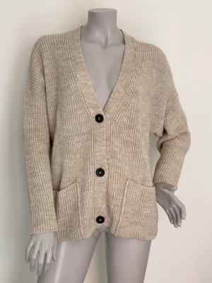 Set Coarse Knitted Jacket beige alpaca wool