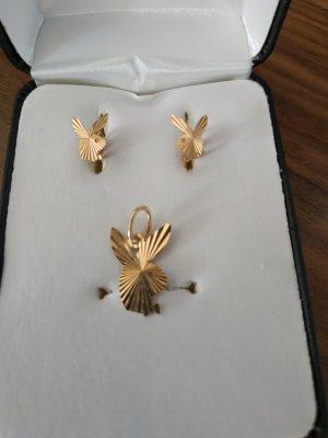 Set Playboy Ohrringe Ohrstecker & Anhänger Gold 585 14K