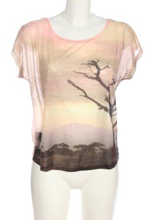 Set Print Shirt pink-cream themed print casual look