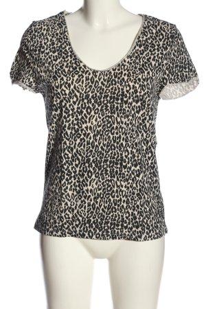 Set Print-Shirt wollweiß-schwarz Animalmuster Casual-Look