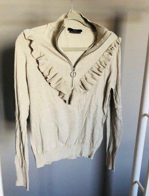 SET Pullover mit Kaschmir grau beige mit Rüschen Gr. M
