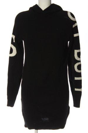 Set Sweaterjurk zwart-wolwit gedrukte letters casual uitstraling