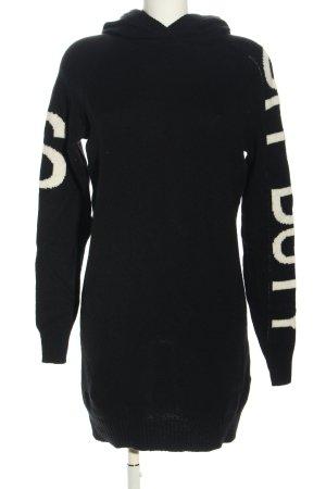 Set Vestido tipo jersey negro-blanco letras impresas look casual