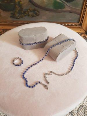 Set Ring Kette Armband blauer Strass