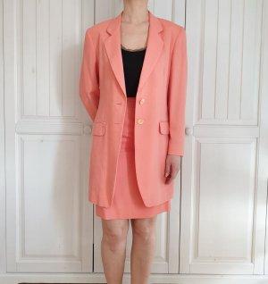 Set Rock Blazer Rosa Korallrosa kostüm Vintage Mondi Anzugset Business Jacke Bleistiftrock Mantel
