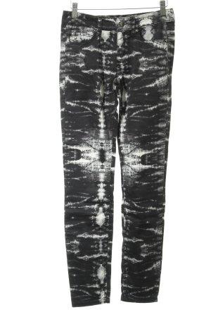 Set Röhrenhose schwarz-weiß Farbtupfermuster Casual-Look
