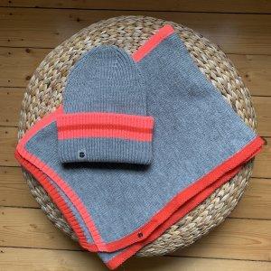 Set Schal und Mütze von loevenich in grau, pink und rot