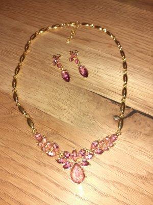 Chaîne à maillons doré-rose clair