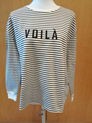 SET schwarz weiß gestreifter Pullover Schriftzug VOILA Gr. 40 NEU mit Etikett