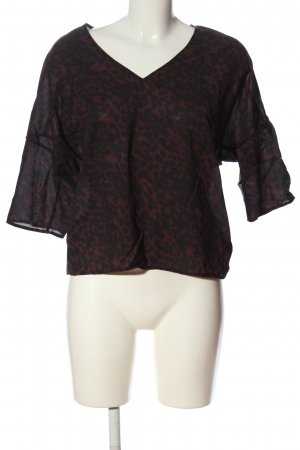 Set Seidenbluse rot-schwarz Leomuster Casual-Look