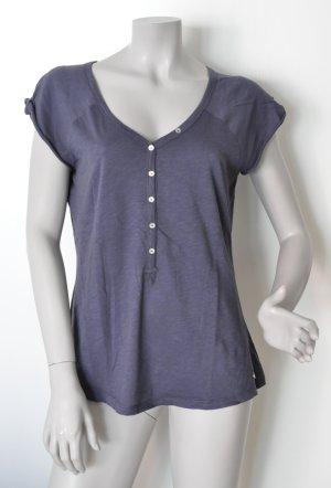 Set V-Neck Shirt blue cotton