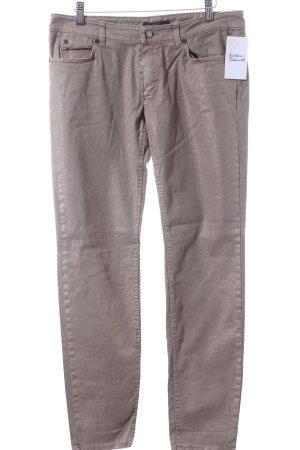 Set Slim Jeans graubraun Logo-Applikation aus Leder