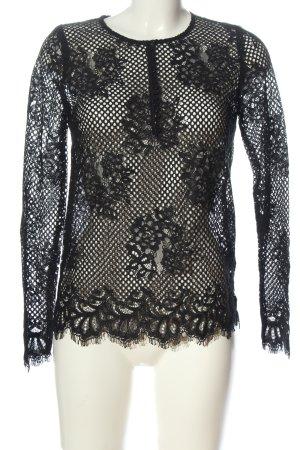 Set Koronkowa bluzka czarny Wzór w kwiaty Elegancki