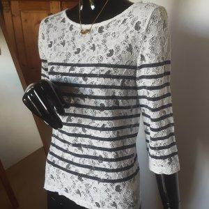 Set Koronkowa bluzka biały-ciemnoniebieski