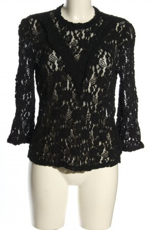 Set Lace Blouse black weave pattern casual look