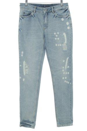 Set Straight-Leg Jeans kornblumenblau Logo-Applikation aus Leder