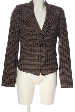 Set Blazer in maglia marrone-nero motivo a quadri stile professionale