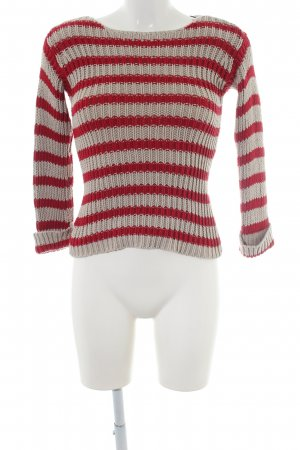 Set Strickpullover hellgrau-rot Streifenmuster Casual-Look