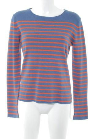 Set Strickpullover stahlblau-orange Streifenmuster Casual-Look