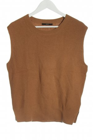 Set Smanicato lavorato a maglia marrone stile casual