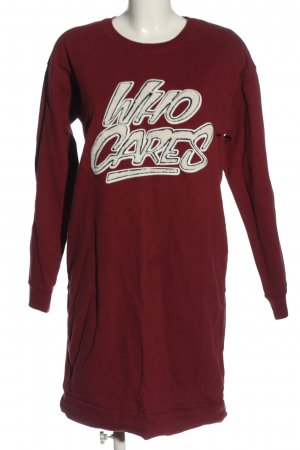 Set Sweat Dress red-white printed lettering casual look