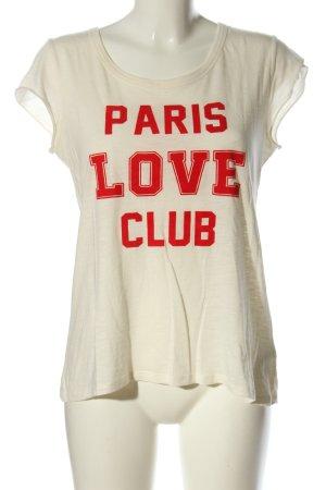 Set T-Shirt wollweiß-rot Schriftzug gedruckt Casual-Look