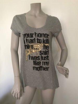 SET T-Shirt mit Print-Motiv Baumwolle grau 34621 Gr. 40 NEU MIT ETIKETT