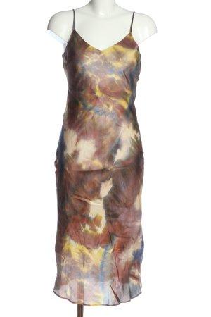 Set Pinafore dress brown-cream abstract pattern elegant