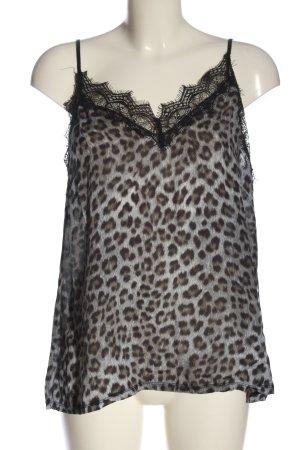 Set Top de tirantes gris claro-negro estampado de leopardo look casual