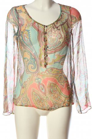 Set Blusa transparente estampado con diseño abstracto look casual