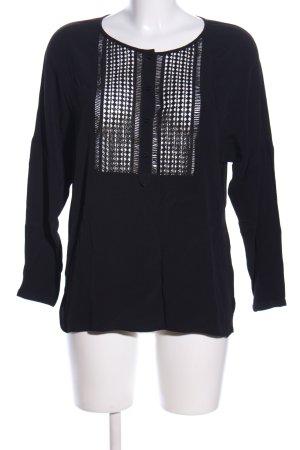 Set Tunikabluse schwarz-silberfarben abstraktes Muster Casual-Look