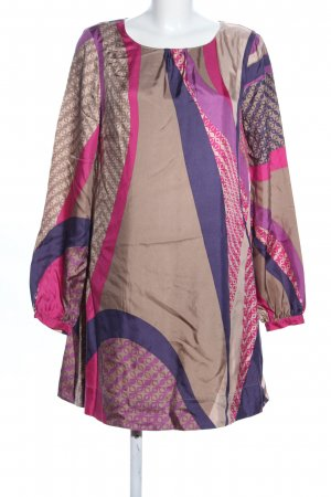 Set Vestido tipo túnica lila-crema estampado repetido sobre toda la superficie