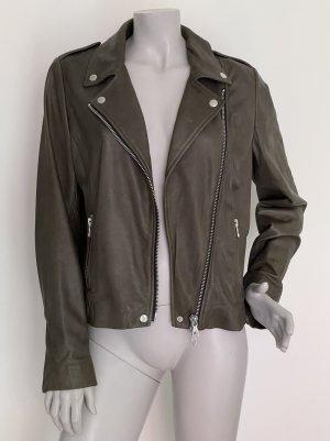 Set Leather Jacket khaki-green grey leather