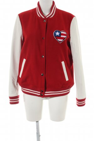 SET Urban Deluxe Collegejacke rot-wollweiß Motivdruck Casual-Look