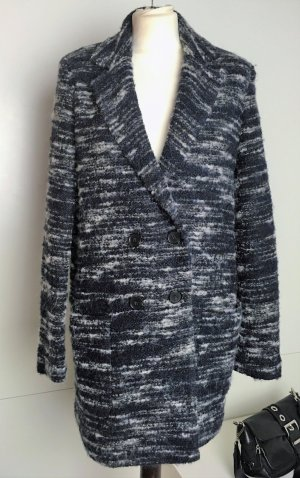 * SET URBAN DELUXE * Kurz  MANTEL  2-Reiher Wolle Alpaka Sythentik blau schwarz weiß meliert Gr 36 M S
